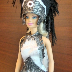 Miniature Replica of Follies Musical Black And White Outfit Along with Headdress