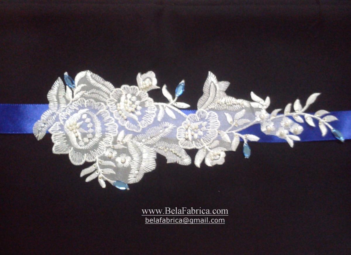 beaded lace bridal belt wedding sash blue rhinestones crystals beads