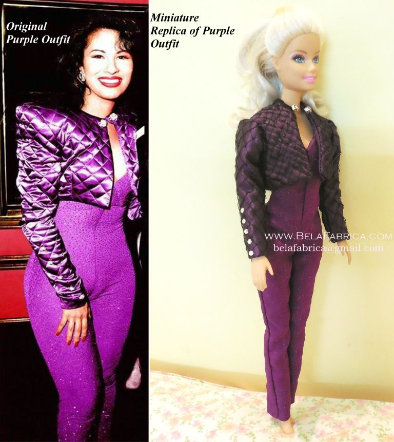 Comparison of Miniature Replica with original outfit- Selena Quintanilla purple jumpsuit with jacket- Miniature by BELAFABRICA