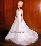 Miniature Replica of a Lace Ballgown V neck beaded wedding Dress by BELAFABRICA
